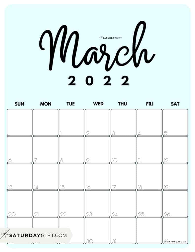 Cute Printable March 2022 Calendar by Month Blue Vertical Sunday-start | SaturdayGift