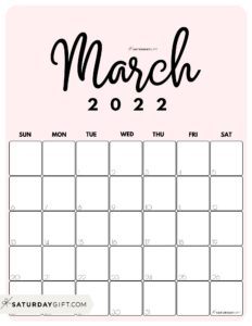 Cute Printable March 2022 Calendar by Month Pink Vertical Sunday-start   SaturdayGift