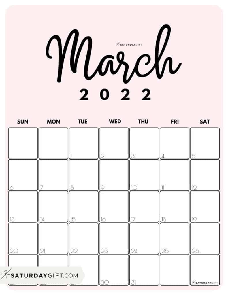 Cute Printable March 2022 Calendar by Month Pink Vertical Sunday-start | SaturdayGift