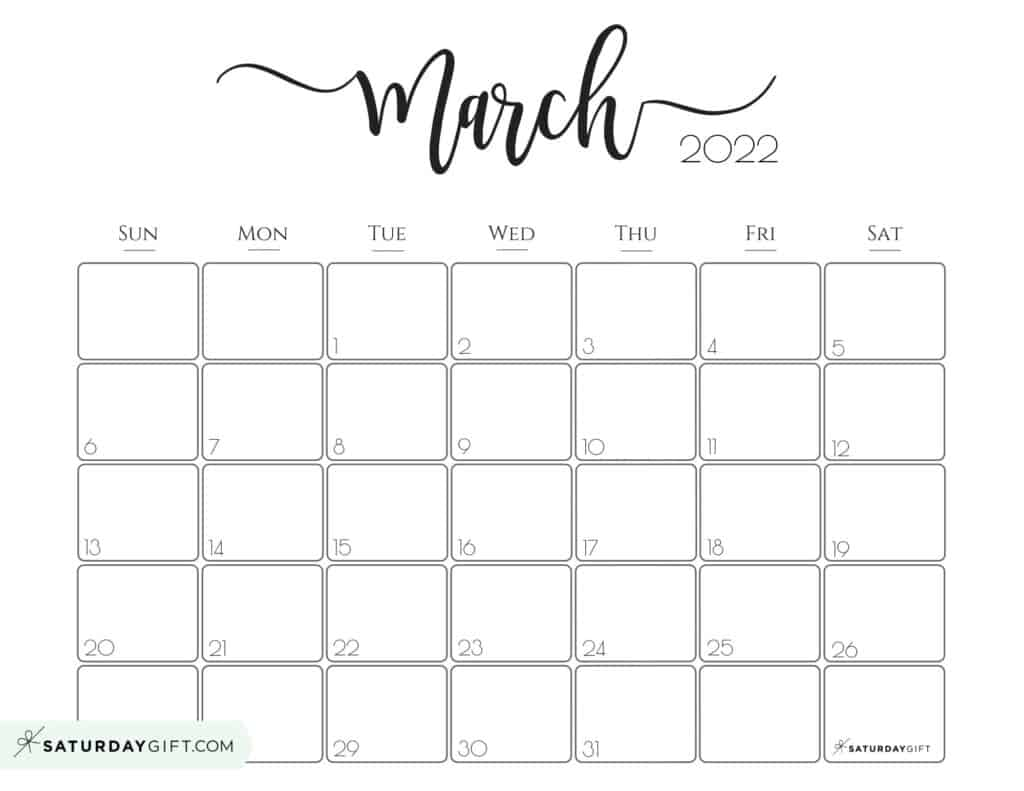 Elegant March 2022 calendar Free Printable Horizontal Landscape Black & White Sunday-Start | SaturdayGift