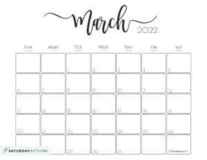 Elegant March 2022 calendar Free Printable Horizontal Landscape Black & White Sunday-Start   SaturdayGift