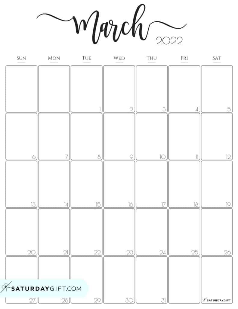 Elegant March 2022 calendar Free Printable Vertical Portrait Black & White Sunday-Start | SaturdayGift