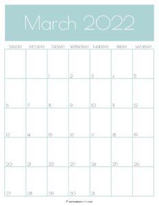 Green Monthly Goals March 2022 Calendar Vertical Sunday-start   SaturdayGift