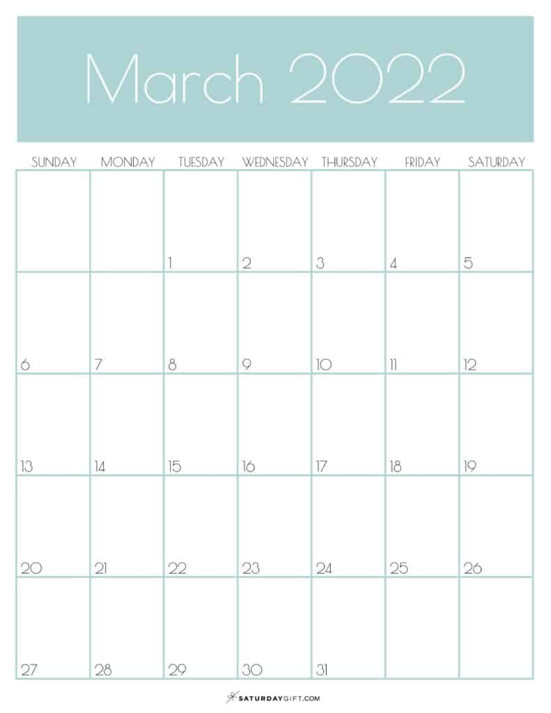 Green Monthly Goals March 2022 Calendar Vertical Sunday-start | SaturdayGift
