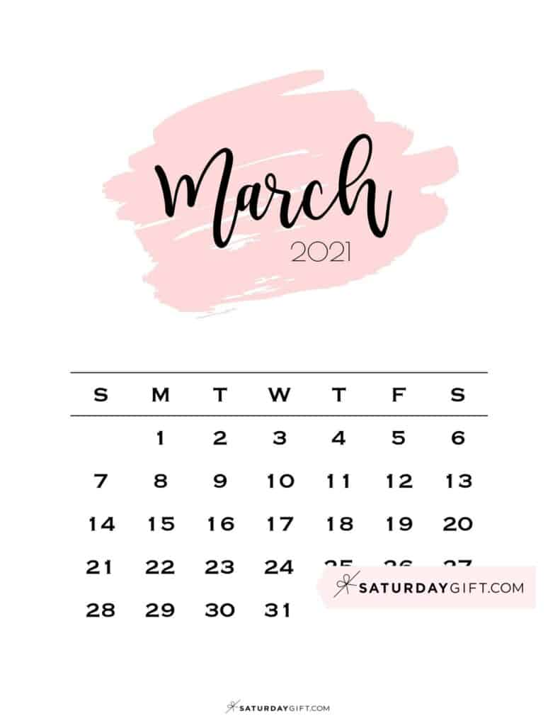 Monthly March 2021 Calendar Minimalistic Pink Brush | SaturdayGift