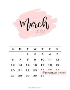 Monthly March 2022 Calendar Minimalistic Pink Brush   SaturdayGift