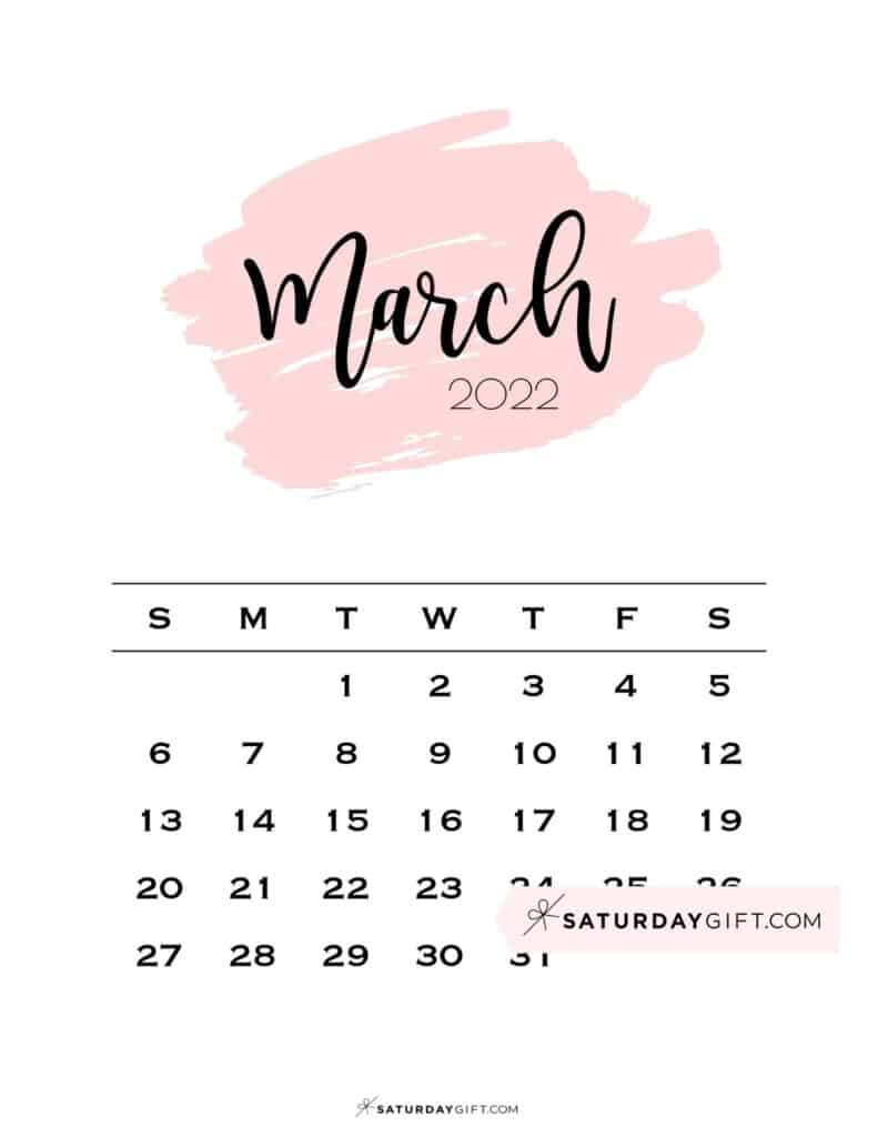 Monthly March 2022 Calendar Minimalistic Pink Brush | SaturdayGift