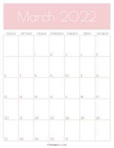 Pink Monthly Goals March 2022 Calendar Vertical Sunday-start   SaturdayGift