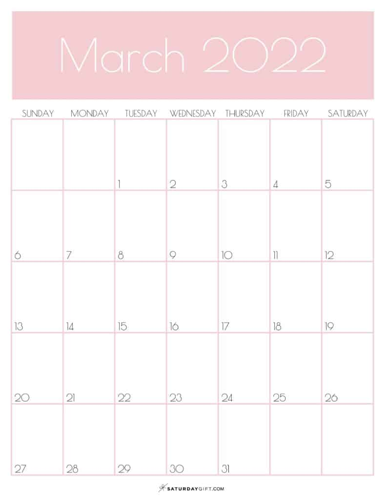 Pink Monthly Goals March 2022 Calendar Vertical Sunday-start | SaturdayGift