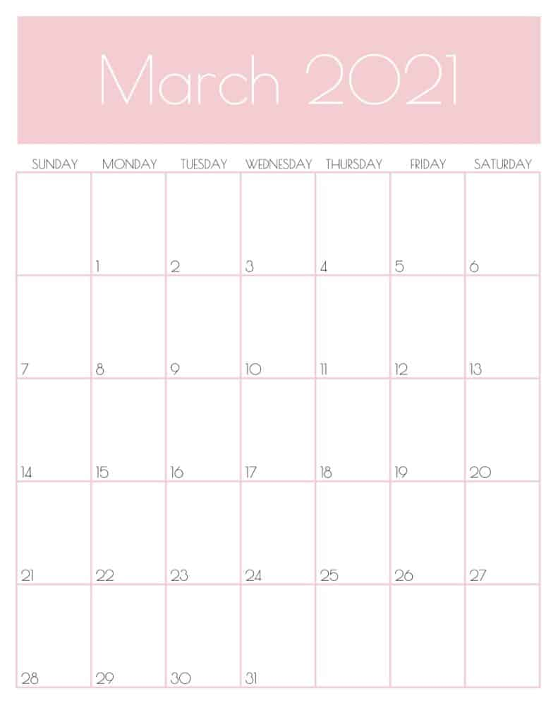 Pink Monthly Goals March 2021 Calendar Vertical Sunday-start | SaturdayGift