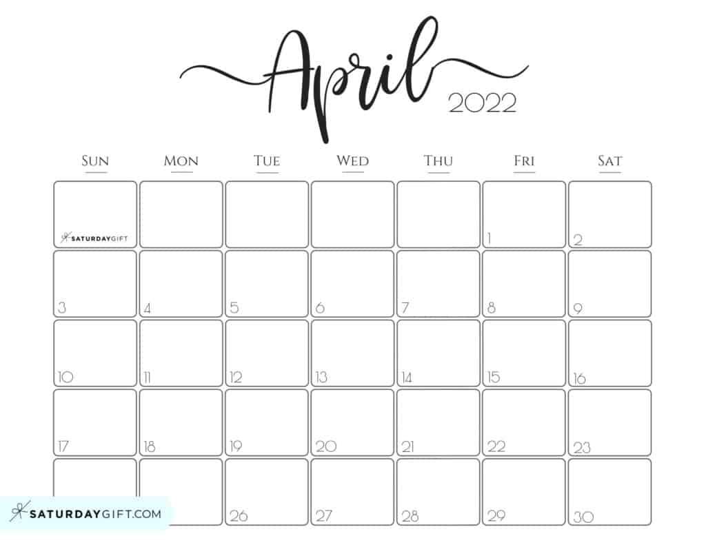 Cute Free Printable April 2022 Calendar Saturdaygift