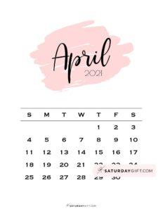 Monthly April 2021 Calendar Minimalistic Pink Brush | SaturdayGift