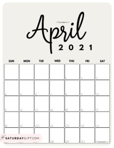 Cute Printable April 2021 Calendar by Month Beige Vertical Sunday-start