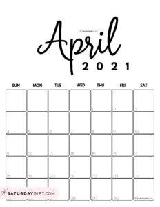 Cute Printable April 2021 Calendar by Month Black&White Vertical Sunday-start