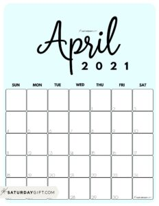 Cute Printable April 2021 Calendar by Month Blue Vertical Sunday-start