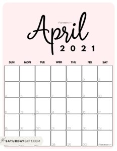 Cute Printable April 2021 Calendar by Month Pink Vertical Sunday-start