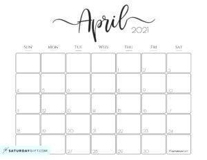 Elegant April 2021 calendar Free Printable Horizontal Sunday-Start