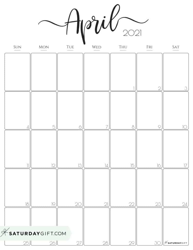 April Calendar Printable 2021 Cute (& Free!) Printable April 2021 Calendar | SaturdayGift