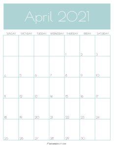 Green Monthly Goals April 2021 Calendar Vertical Sunday-start | SaturdayGift