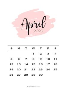 04 Monthly Calendar Pink Brush April 2020   SaturdayGift