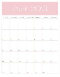 Pink Monthly Goals April 2021 Calendar Vertical Sunday-start | SaturdayGift