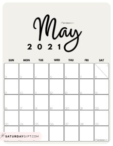 Cute Printable May 2021 Calendar by Month Beige Vertical Sunday-start