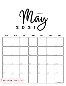 Cute Printable May 2021 Calendar by Month Black&White Vertical Sunday-start