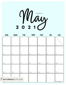 Cute Printable May 2021 Calendar by Month Blue Vertical Sunday-start