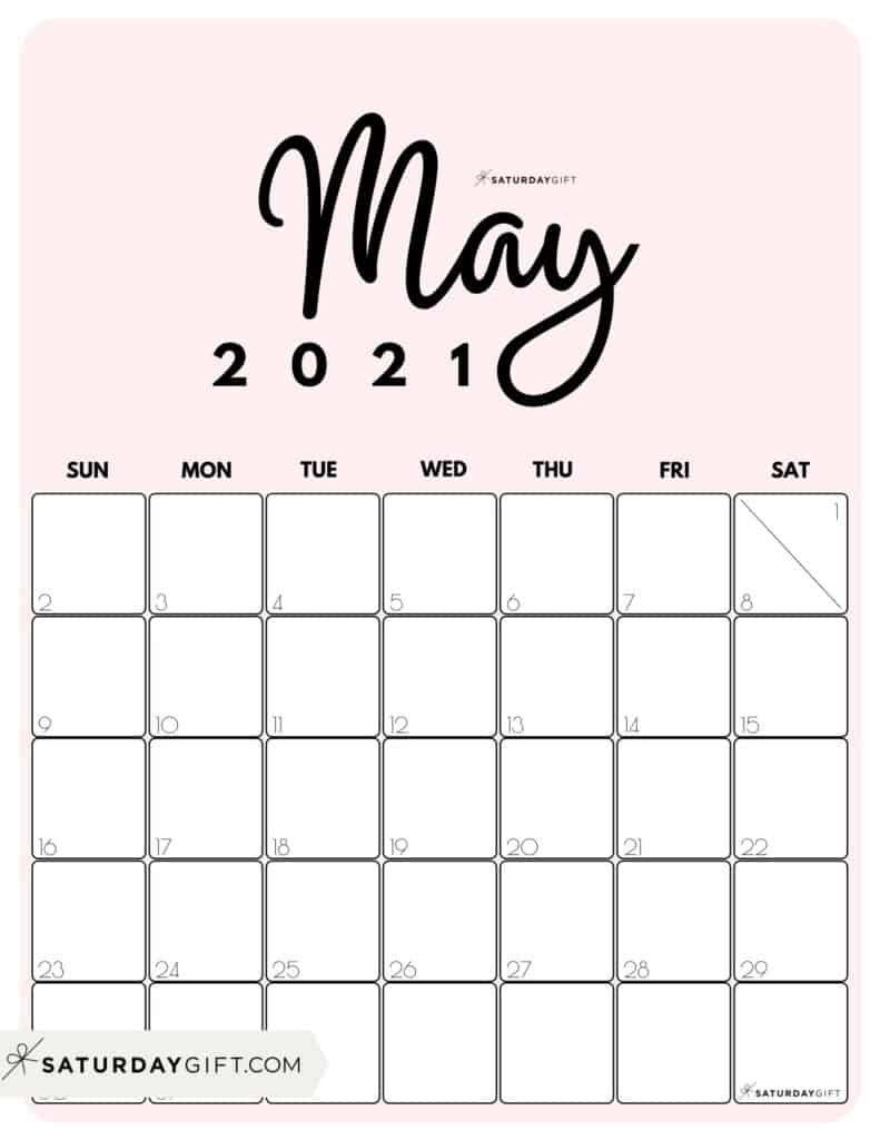 Cute Printable May 2021 Calendar by Month Pink Vertical Sunday-start