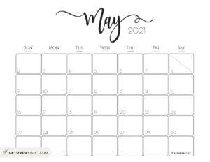 Elegant May 2021 calendar Free Printable Horizontal Sunday-Start