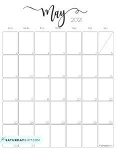 Elegant May 2021 calendar Free Printable Vertical Sunday-Start