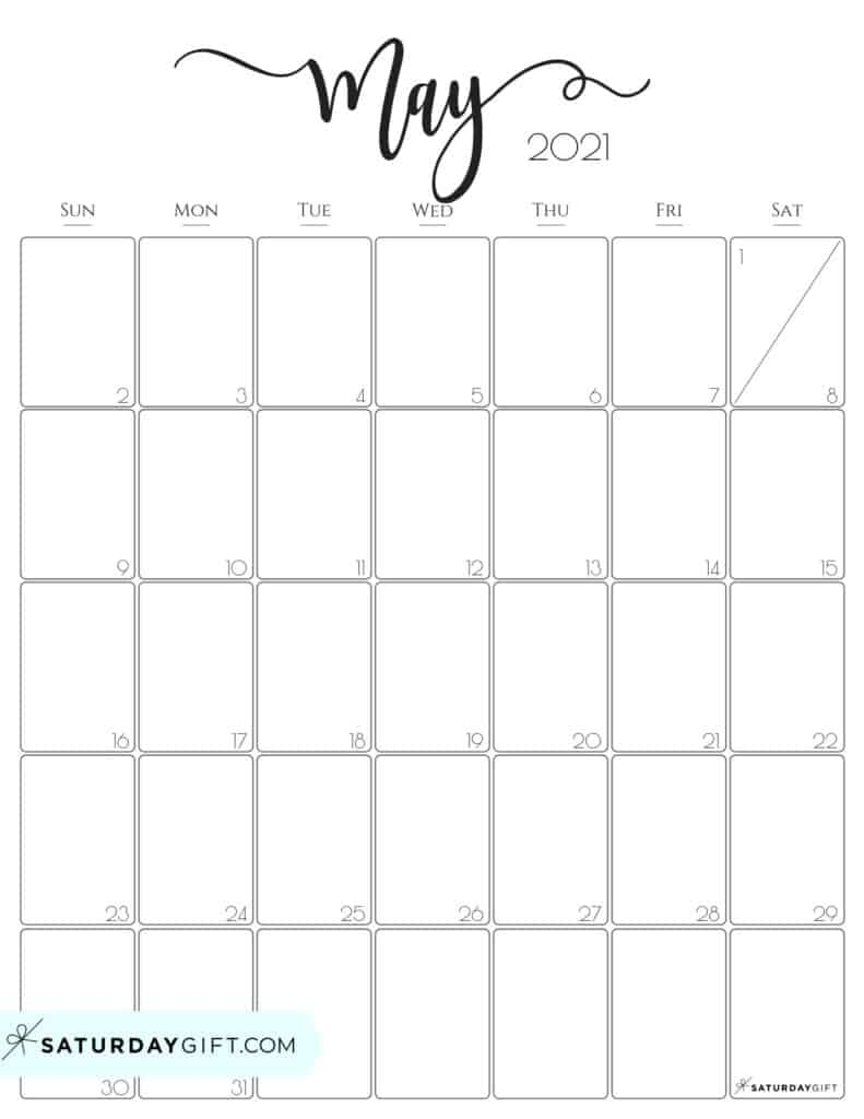 Elegant May 2021 calendar Free Printable Vertical Sunday-Start
