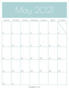 Green Monthly Goals May 2021 Calendar Vertical Sunday-start | SaturdayGift