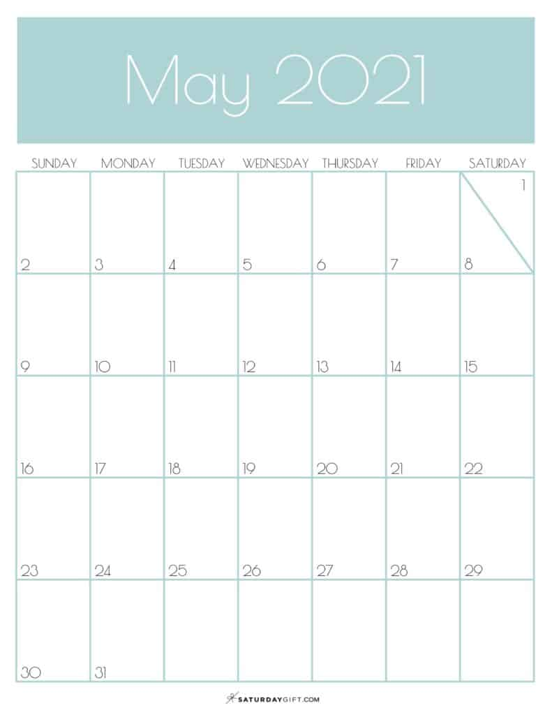 Green Monthly Goals May 2021 Calendar Vertical Sunday-start | SaturdayGift