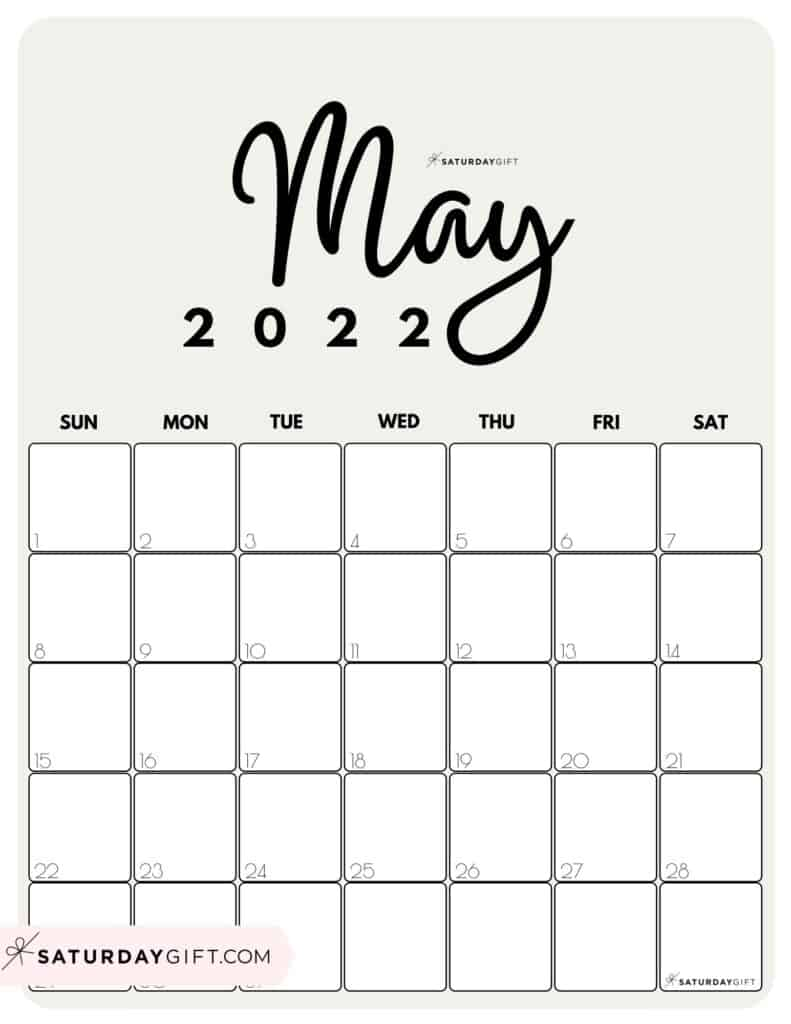 Cute Printable May 2022 Calendar by Month Beige Vertical Sunday-start | SaturdayGift