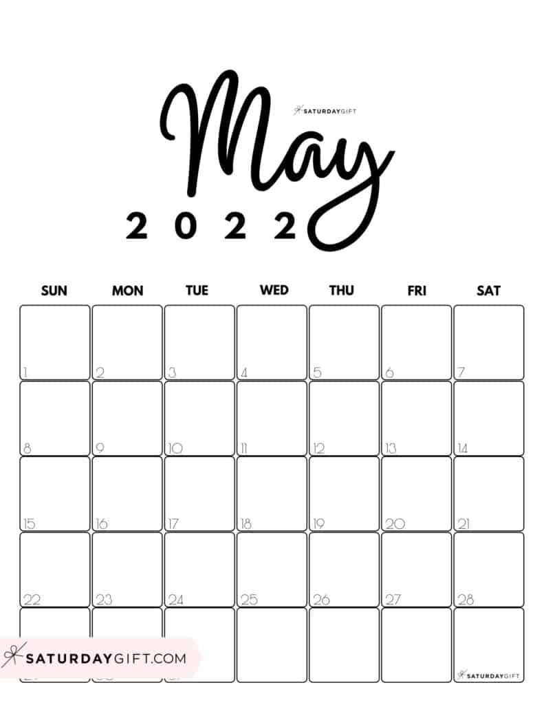 Cute Printable May 2022 Calendar by Month Black & White Vertical Sunday-start | SaturdayGift