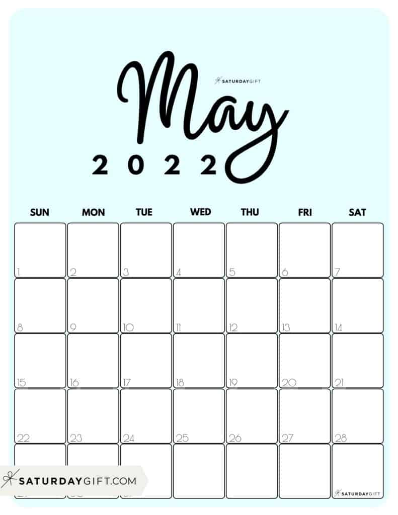 Cute Printable May 2022 Calendar by Month Blue Vertical Sunday-start | SaturdayGift