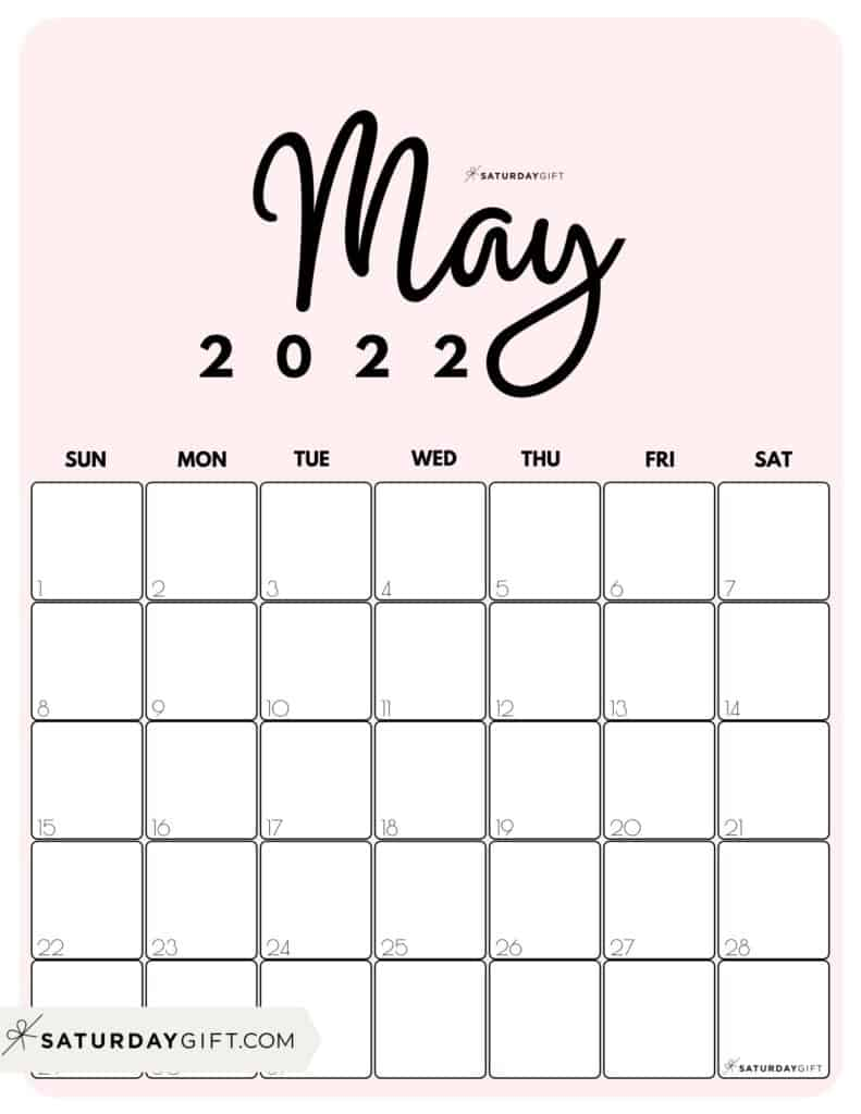 Cute Printable May 2022 Calendar by Month Pink Vertical Sunday-start | SaturdayGift
