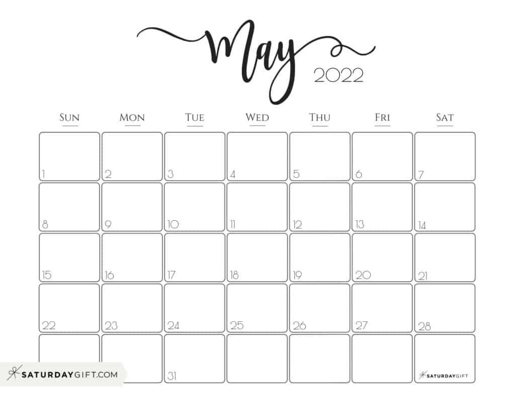 Elegant May 2022 calendar Free Printable Horizontal Landscape Black & White Sunday-Start | SaturdayGift