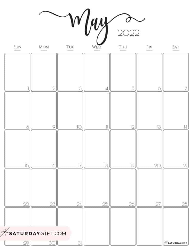 Elegant May 2022 calendar Free Printable Vertical Portrait Black & White Sunday-Start | SaturdayGift