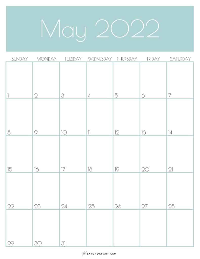 Green Monthly Goals May 2022 Calendar Vertical Sunday-start | SaturdayGift