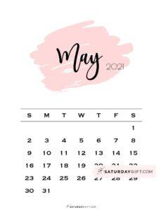 Monthly May 2021 Calendar Minimalistic Pink Brush | SaturdayGift