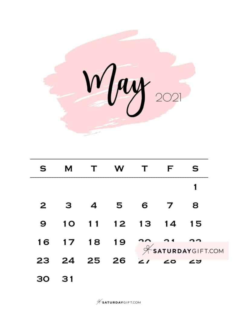 Monthly May 2021 Calendar Minimalistic Pink Brush | SaturdayGift
