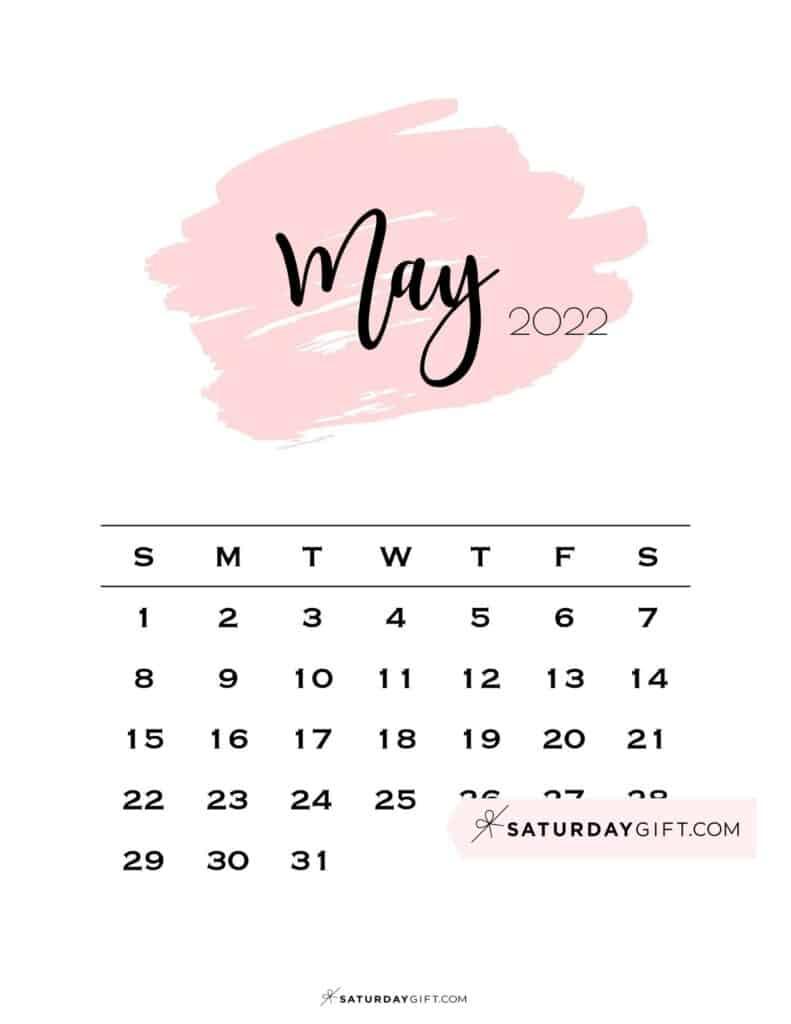 Monthly May 2022 Calendar Minimalistic Pink Brush | SaturdayGift