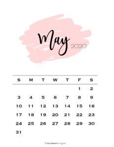 05 Monthly Calendar Pink Brush May 2020 | SaturdayGift