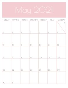 Pink Monthly Goals May 2021 Calendar Vertical Sunday-start | SaturdayGift