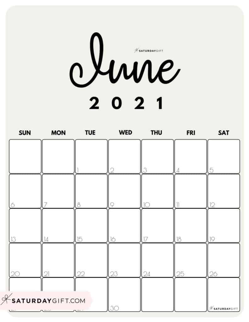 June 2021 Calendar Cute Cute (& Free!) Printable June 2021 Calendar | SaturdayGift