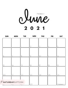 Cute Black and White Monthly Calendar June 2021