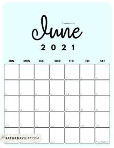 Cute Blue Monthly Calendar June 2021