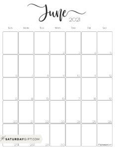 Elegant June 2021 calendar Free Printable Vertical Sunday-Start